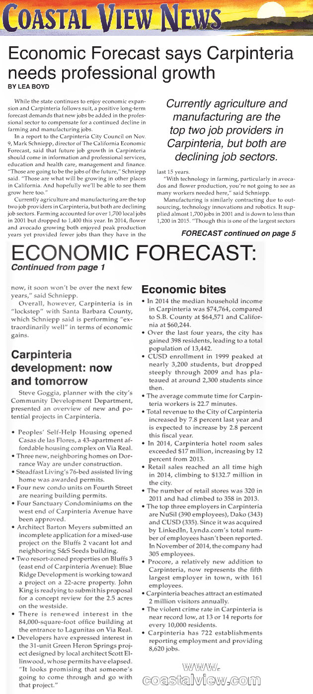Economic Forecast Says Carpinteria Needs Professional Growth- Coastal View News