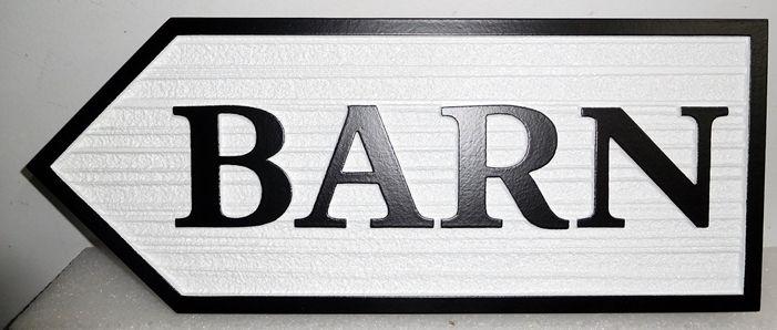 O24837 - Carved, Sandblasted Directional Sign for Barn