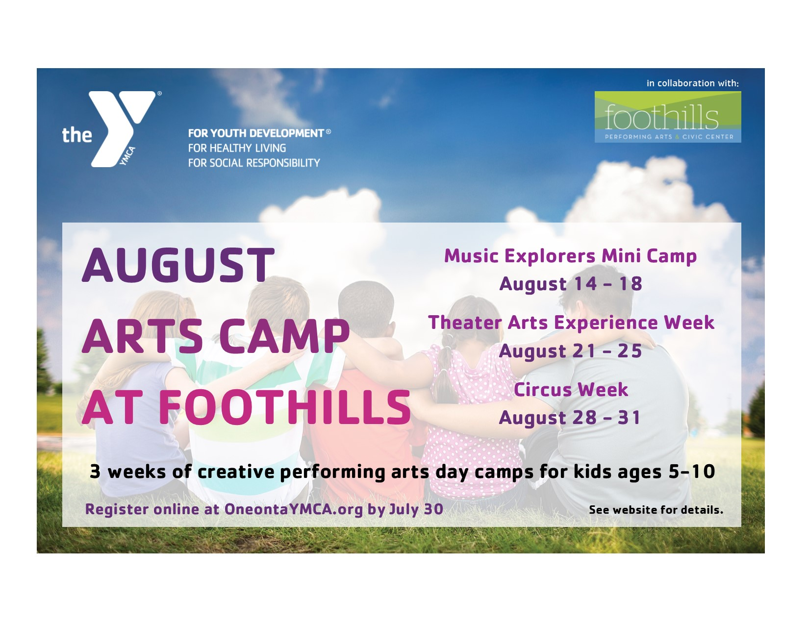 AUGUST ARTS CAMP AT FOOTHILLS