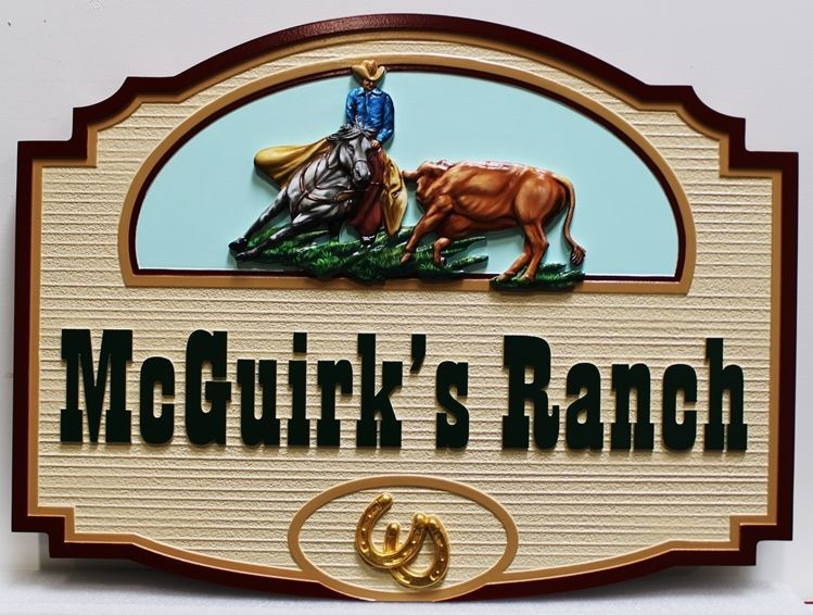 O24311 - Carved HDU Entrance sign for McGuirk's Ranch, with a Cowboy Mounted on his Cutting Horse