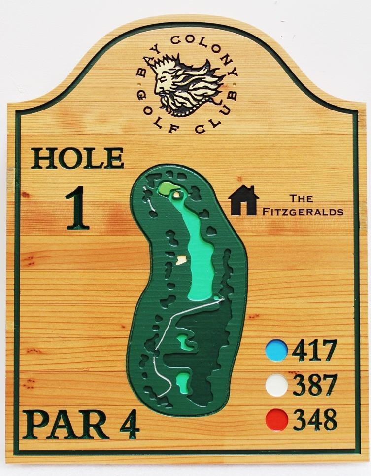E14422 - Carved Cedar Tee Sign giving the hole layout for the 1stHole of the Bay Colony Golf Club.