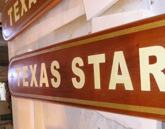 "M3814- Carved Mahogany Plaque with 24K Gold Leaf Gilt Borders for ""Texas Star"" (Gallery 20, p 3)"