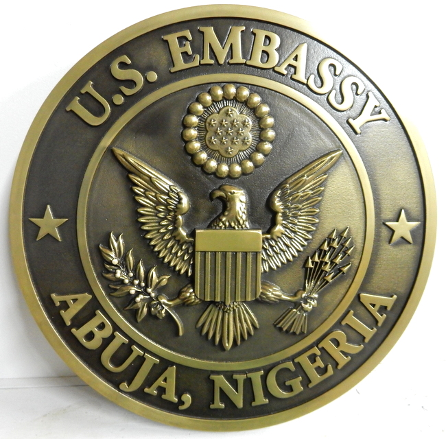 AP-3680 - Carved Plaque of the Seal of the United States Embassy in Abuja, Nigeria, Bronze Plated