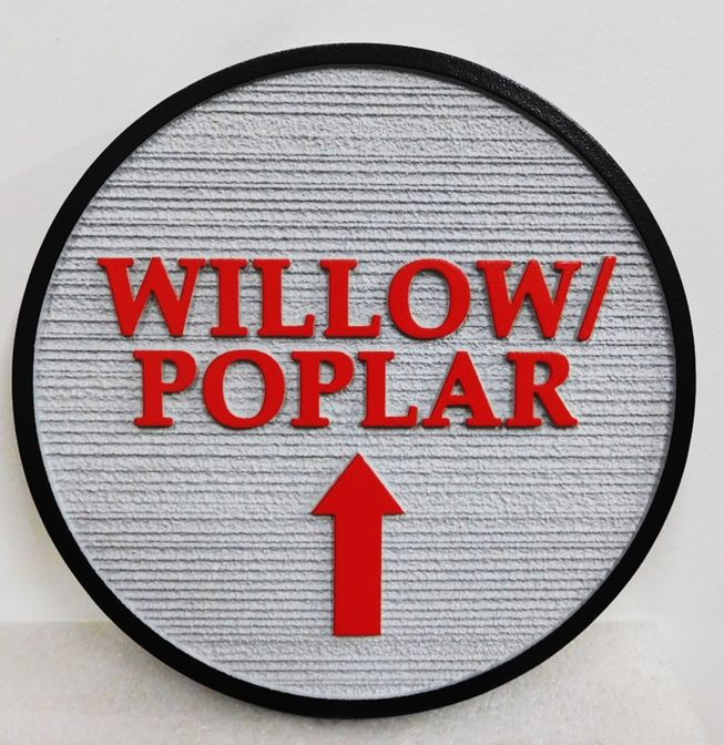 "T29449 - Carved  and Sandblasted Wood Grain Directional Sign for the ""Willow & Poplar"", 2.5-D"