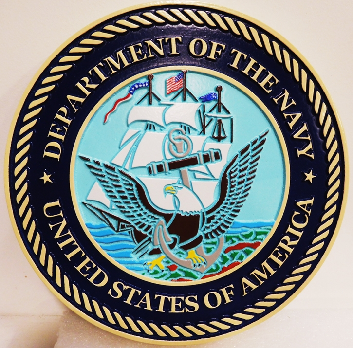 JP-1067 - Carved Plaque of the Great Seal of the US Navy, 2.5-D Artist-Painted