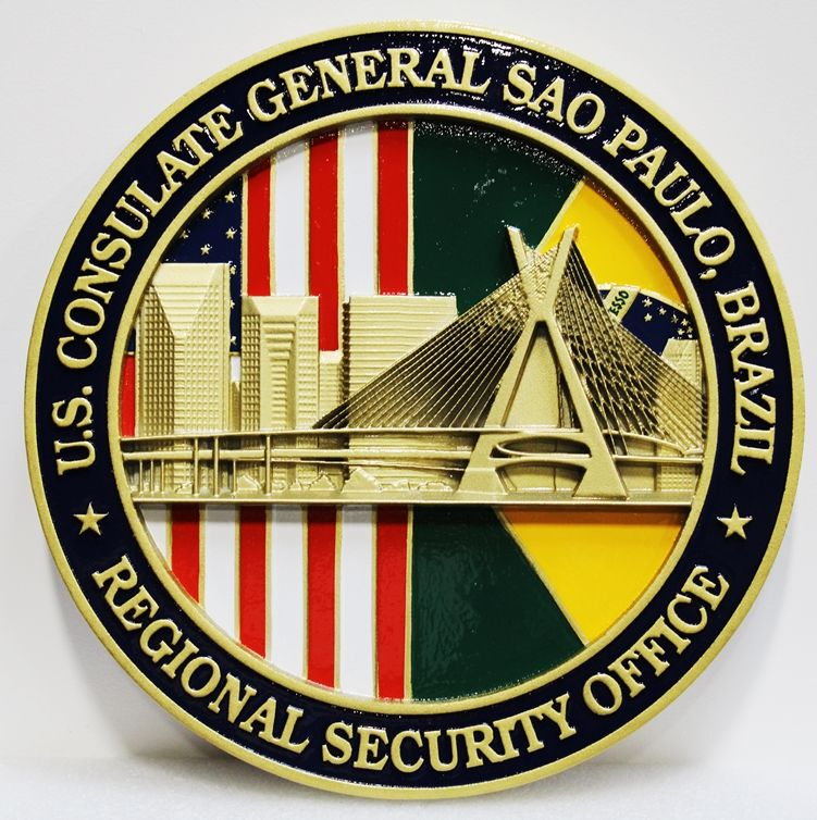 AP-3825 - Carved Plaque of the Seal of the US Consulate General Regional Security Office, Sao Paulo, Brazil