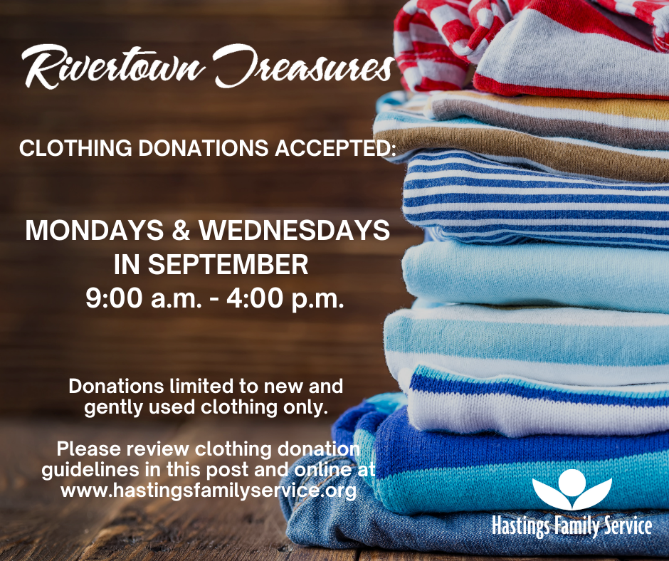 Rivertown Treasures to Accept Clothing Donations on a Limited Basis