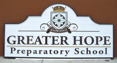 FA15603 - Greater Hope Preparatory School Carved Wooden Sign