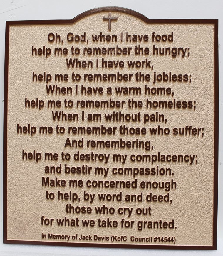 "ZP-6062 - Carved 2.5-D Raised Relief HDU Plaque with the Prayer ""Oh God When I Have Food, Help Me to Remember the Hungry..."""