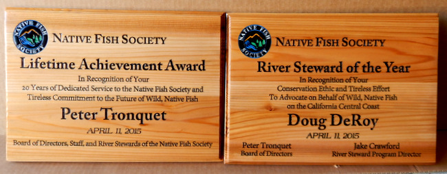M22598 - Carved Cedar Wall  Plaques for Native Fish Society Lifetime Achievement Awards