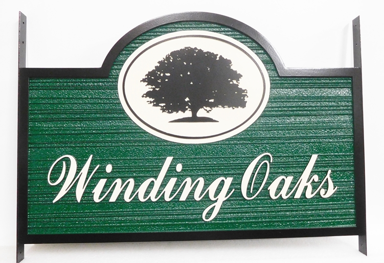"I18310 - Carved and Sandblasted High-Density-Urethane Property Name Sign, ""Winding Oaks"", with Oak Tree as Artwork"