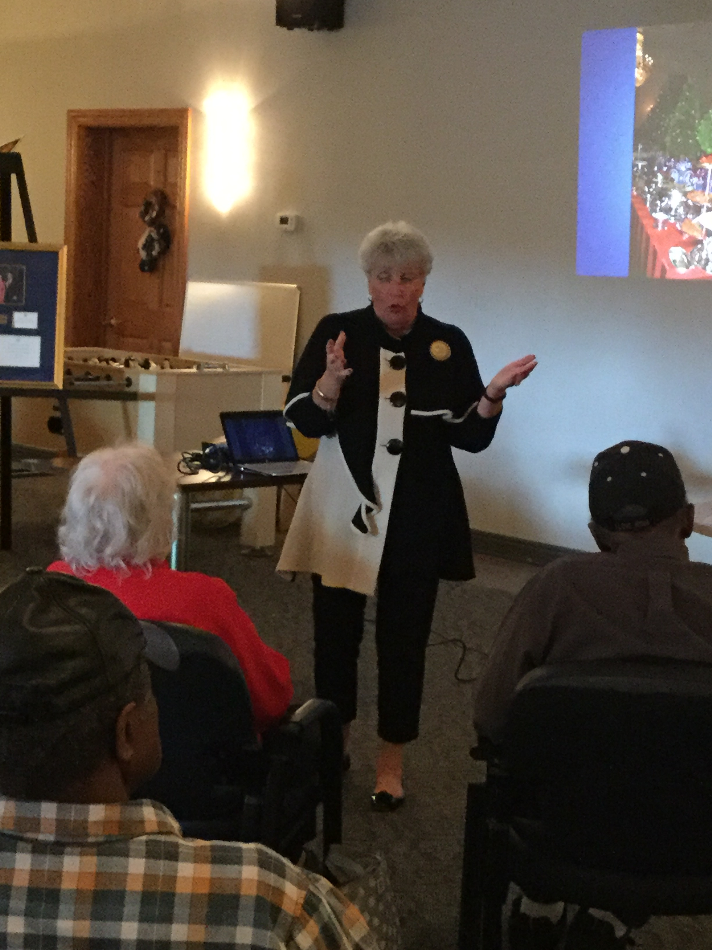 Janet Weir Creighton speaks to our members at our Adult Day Center