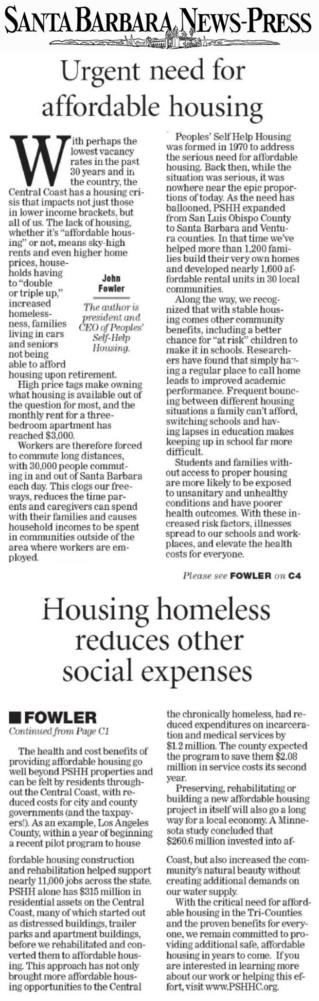 Urgent need for affordable housing - Santa Barbara News-Press