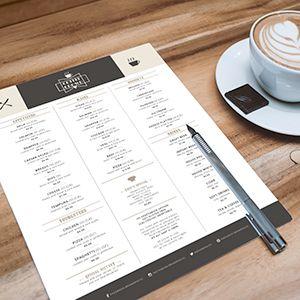 Request an estimate for printing menus.