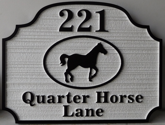P25346 - Carved Sign for Quarter Horse Lane with Street Number and Artist's Raised Silhouette of Quarter Horse
