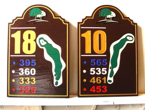E14414 - Carved Redwood Tee Signs with Maps and Yardage