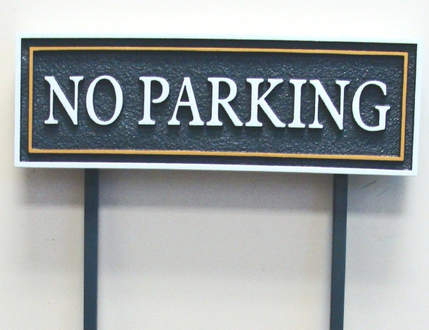 "KA20705 - Carved and Sandblasted High Density Urethane ""No Parking"" Sign with Two Steel Posts"