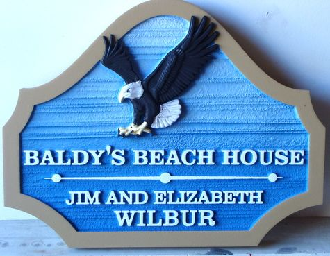 """L21624 - """"Baldy's Beach House""""  Carved Wooden Sign with 3-D Bald Eagle in Flight"""
