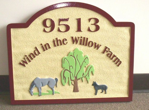 """O24806 - HDU Sign for """"Wind in the Willow Farm"""" with Willow Tre, Horse and Dog"""