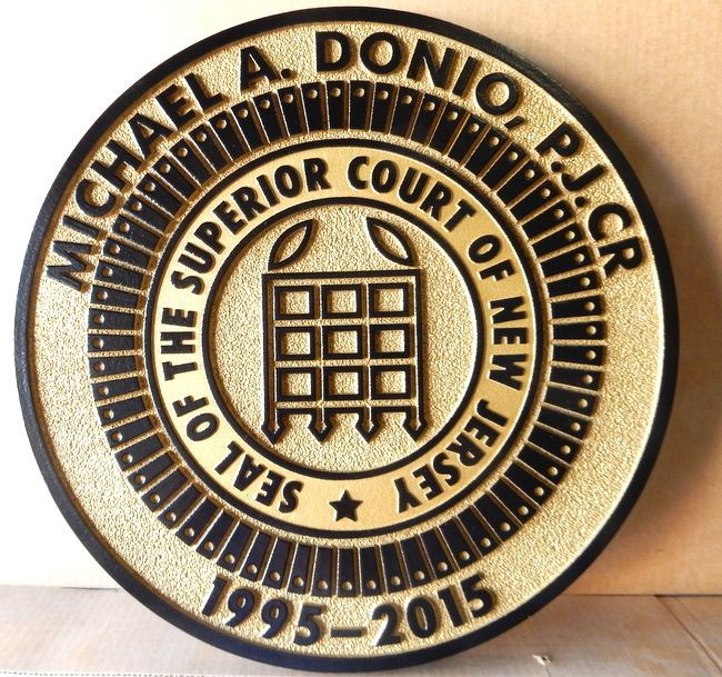 A10884 - Carved 2.5-D Sandblasted HDU Wall Plaque for Superior Court of New Jersey
