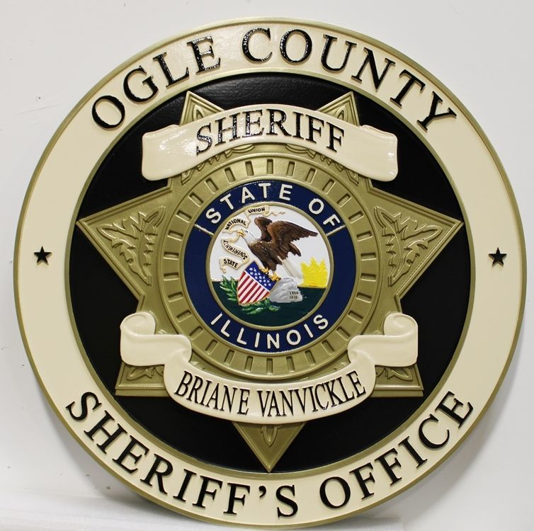 PP-1811 - Carved 3-D HDU Plaque of the Star Badge of the Sheriff of Ogle County,  Illinoi