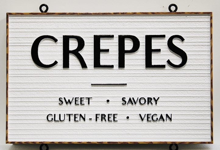 "Q25662 -  Carved and Sandblasted Wood Grain HDU  Hanging Sign for ""The North Shore Crepes Cafe""  with ""Crepes"" as Text"
