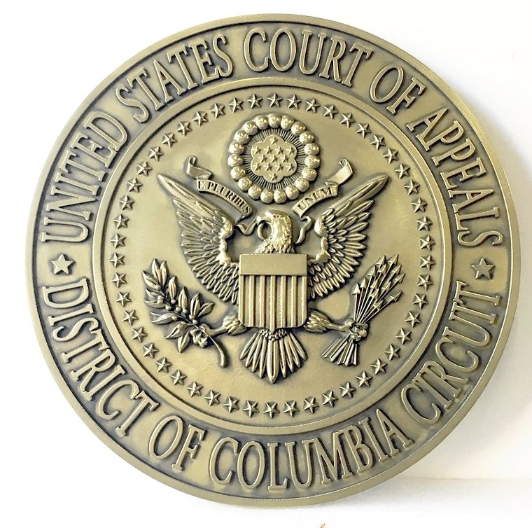 FP-1060 - Carved Plaque of the  Seal  of the US Court of Appeals, District of Columbia Circuit, Brass Plated