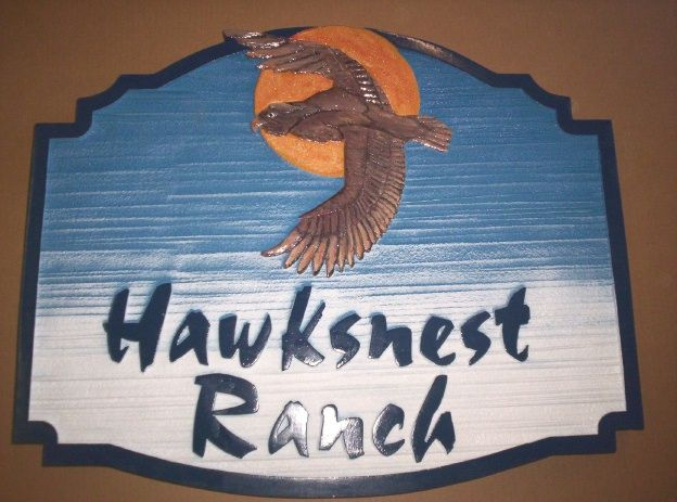 """O24628 - Sign for """"Hawksnest Ranch"""" with Sky, Moon, and Hawk"""