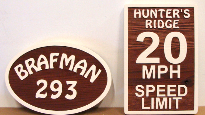 KA20679 - Wooden Address and Speed Limit Signs for Subdivision