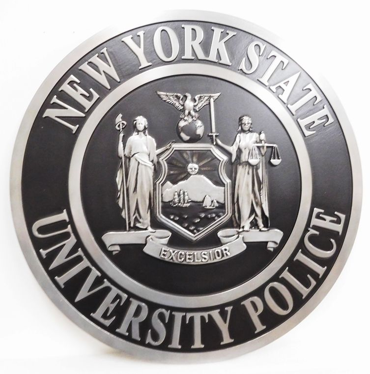 PP-3340 -  Carved Wall Plaque of the Seal of the New York State University Police,  Artist Painted