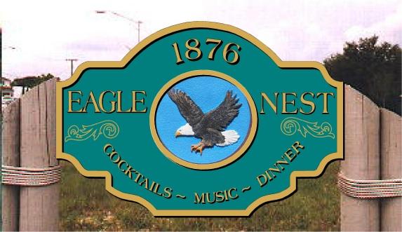 """L21952 - Design of Sign for Vintage Restaurant """"Eagle's Nest"""" for Cocktails, Music, Dinner"""