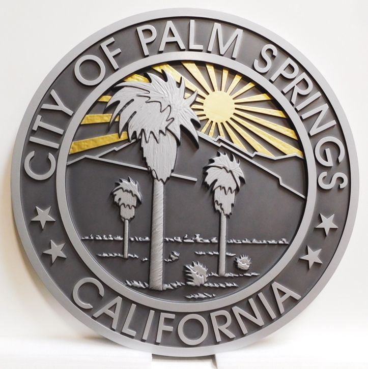 DP-1810 - Carved Plaque of the Seal of the City of Palm Springs, California, 2.5-D Relief Aluminum Plated with Gold Leaf