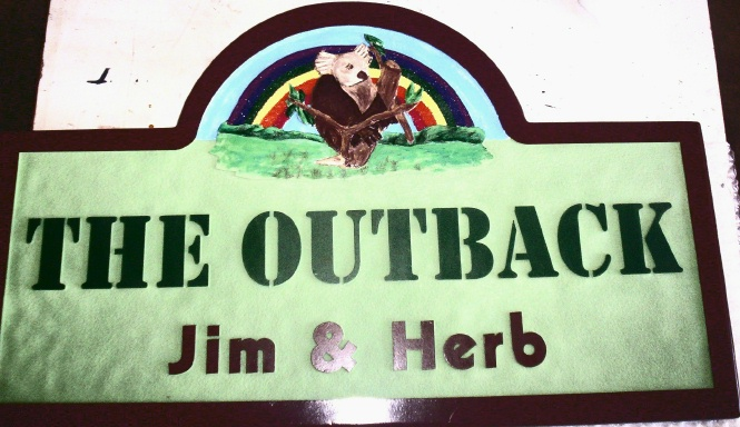 "M22961 - Carved HDU Residence Sign ""The Outback"" with Carved Koala Bear in a Tree and Rainbow"
