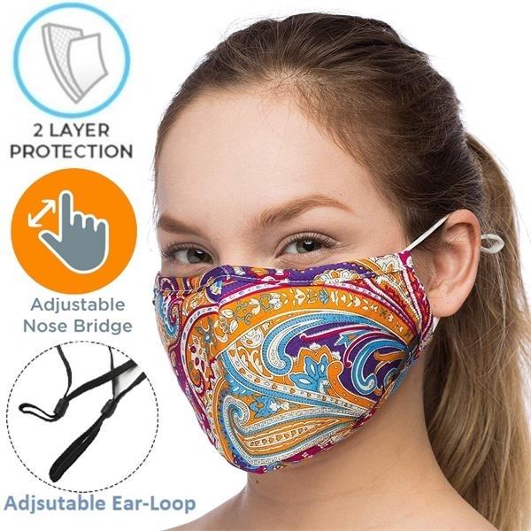 2-Layers Face Mask w/Custom Logo & Adjustable Ear Loop