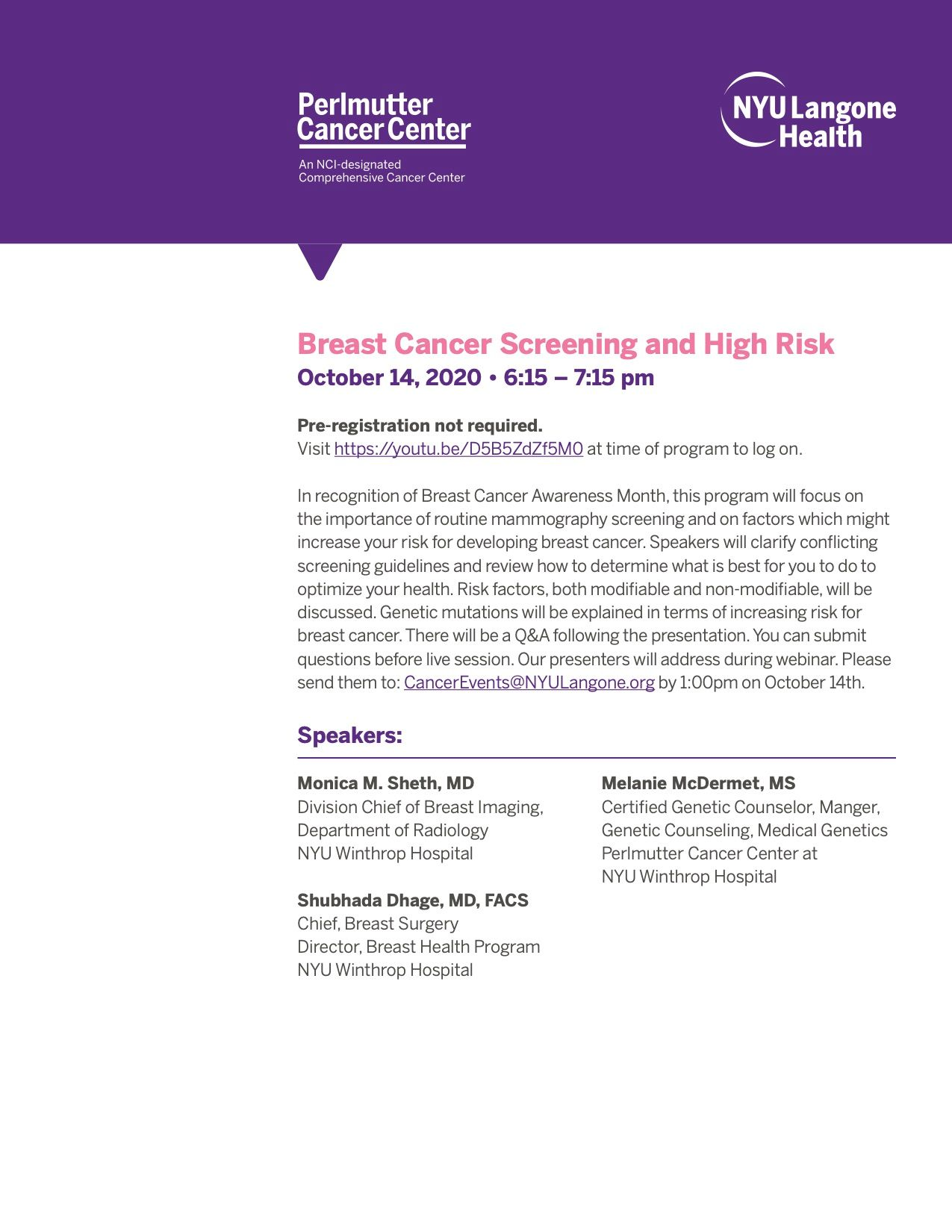 Breast Cancer Screening and High Risk Educational  program