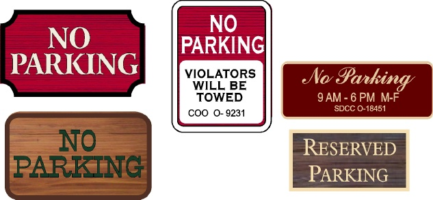 "KA20698 - Carved Wood and HDU Signs for ""No Parking"" ""Violators Will Be Towed,""  ""Reserved Parking,"" No Parking Hours"
