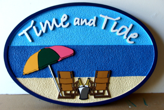 "L21014 - Carved  Sign for Beach House, with Two Chairs and Umbrella, ""Time and Tide"""