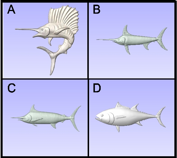 L22036 - Carved Game Fish ( Sailfish, Swordfish, Marlin, Tuna)