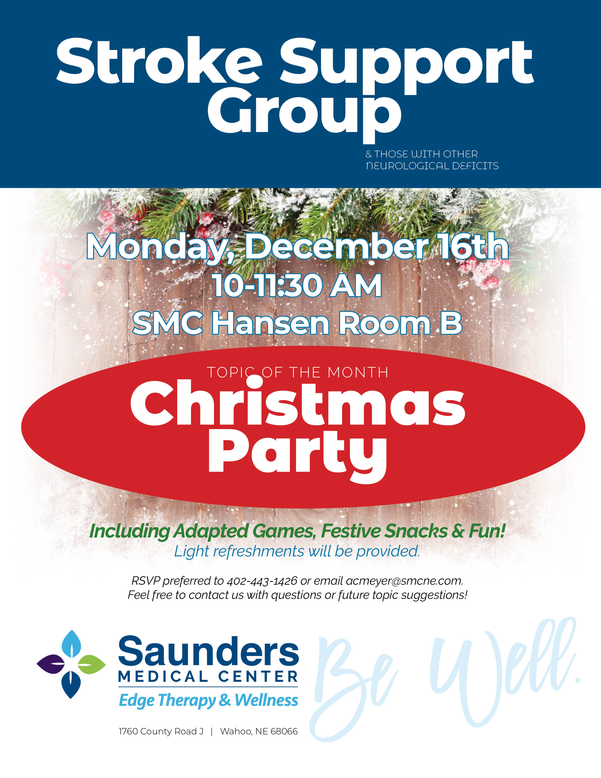 Stroke Support Group | Christmas Party with Festive Snacks and Adaptive Games!