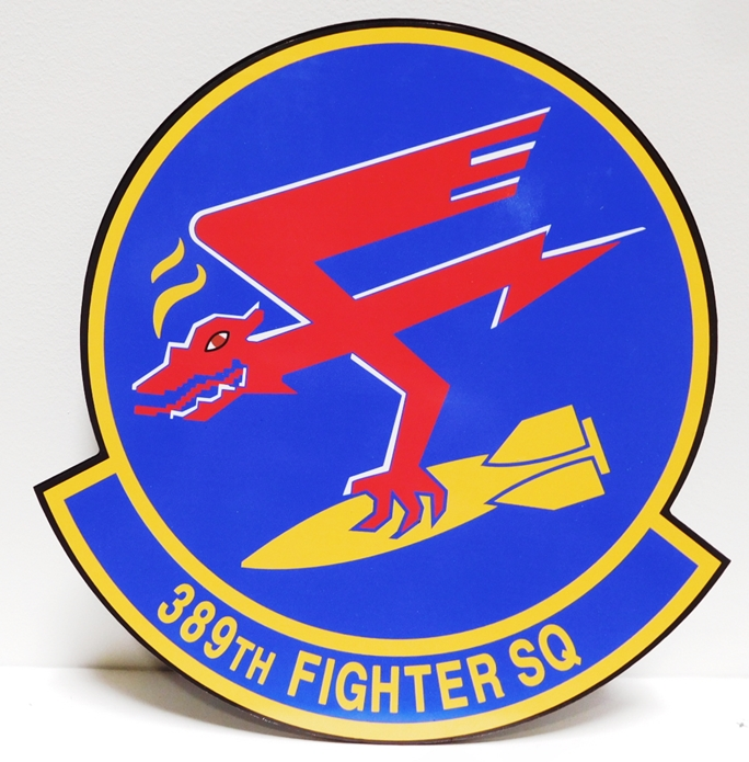 LP-2330 - Carved Plaque of the Crest of the 389th Fighter Squadron, Artist-Painted