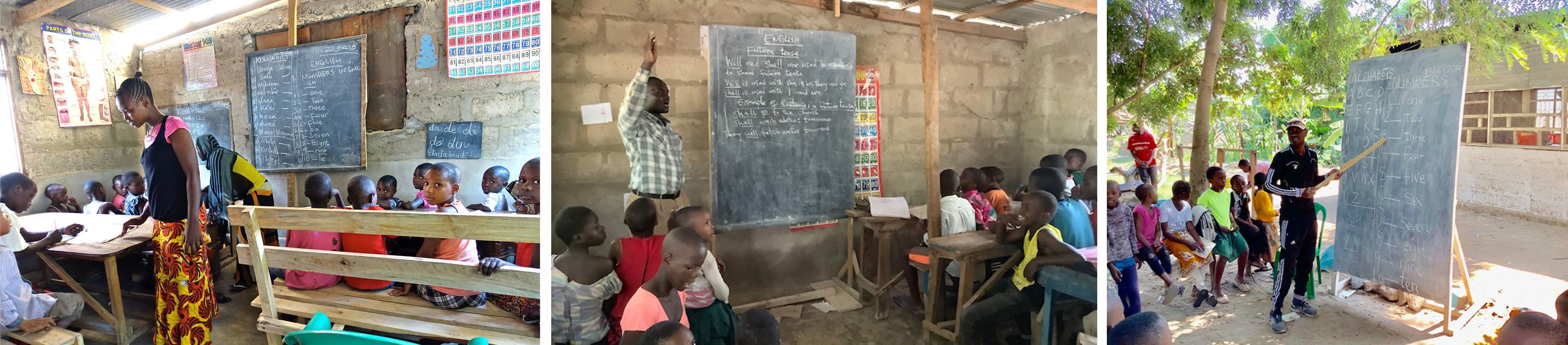 Collage of photos: 1. group of children in the classroom 2. a teacher teaching students in his classroom 3. a teacher teaching in an outdoor classroom.