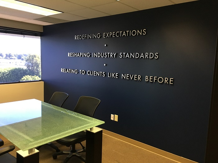 Office lobby signs | wall logo signs | buena park