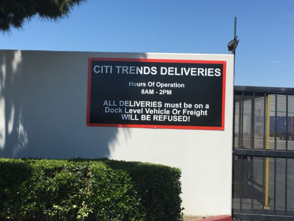Warehouse receiving signs in Los Angeles County CA