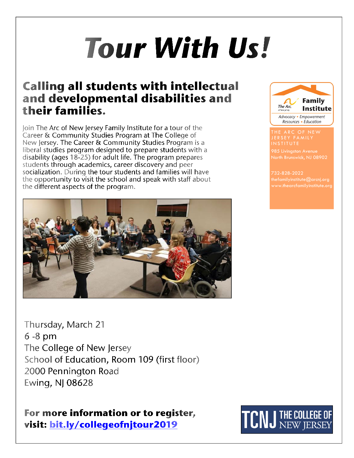 Thursday, March 21 - Career & Community Studies Program Tour - Mercer County