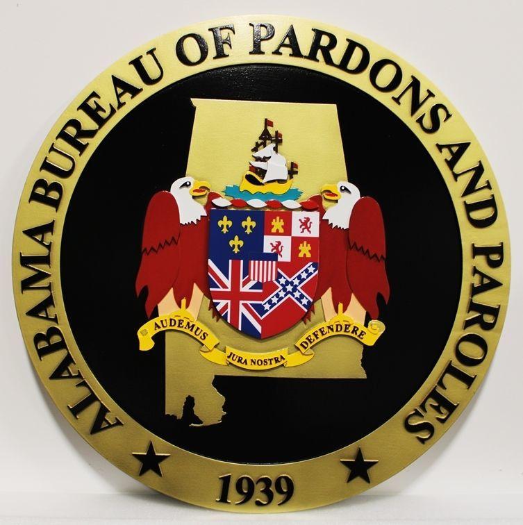GP-1059 - Carved 2.5-D Multi-Level HDU Plaque of the Seal of the Alabama Bureau of Pardons and Paroles