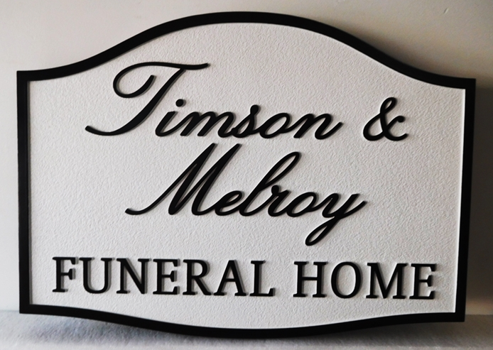 GC16115 - Carved High-Density-Urethane (HDU) Entrance Sign for the Timson &  Melroy Funeral Home