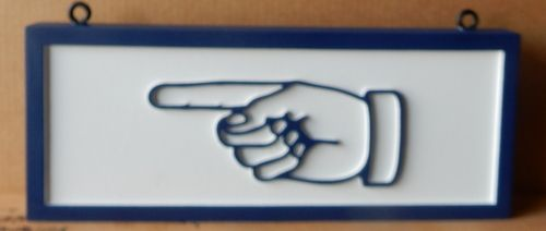 BA11670 - Small Carved HDU Directional Sign with Carved Image of Hand and Index Finger Pointing the Way