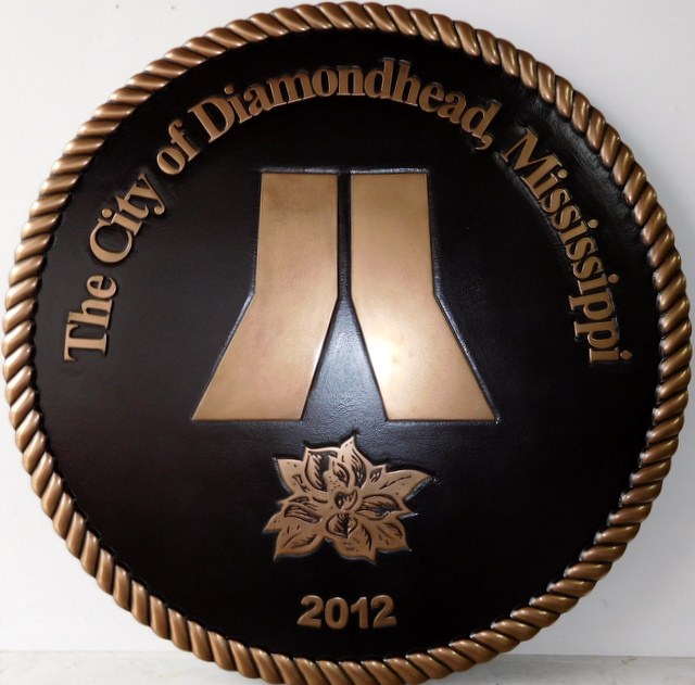 DP-1400 - Carved Plaque of the Seal of the City of Diamondhead, Mississippi,  Bronze Plated