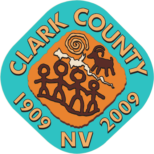 CP-1140 -  Carved Plaque of the Seal of Clark County, Nevada,  Artist Painted