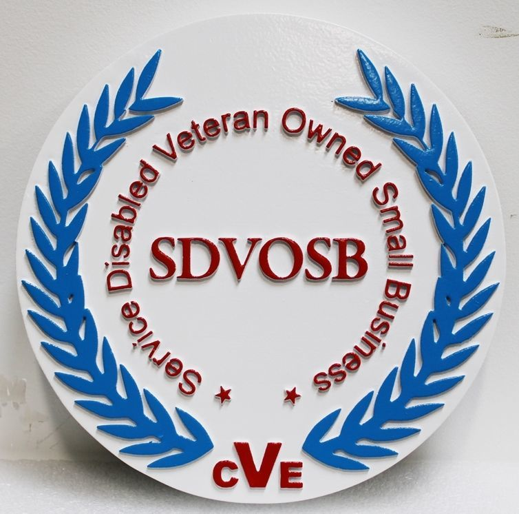 VP-1010 - Carved 2.5-D raised Relief HDU Plaque oftheLogo for a Service Disabled Veteran Owned Small Business (SDVOSB)